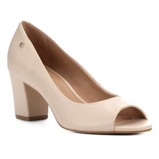 Peep Toe Shoestock Salto Bloco Naked Feminina