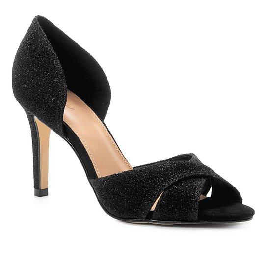 Peep Toe Shoestock Salto Fino Lurex - Preto
