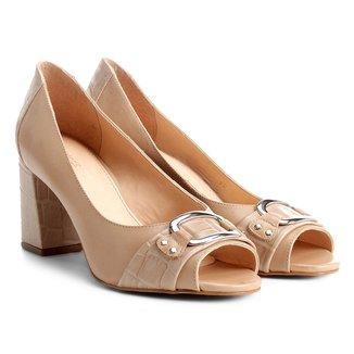 Peep Toe Shoestock Salto Grosso Mix Croco