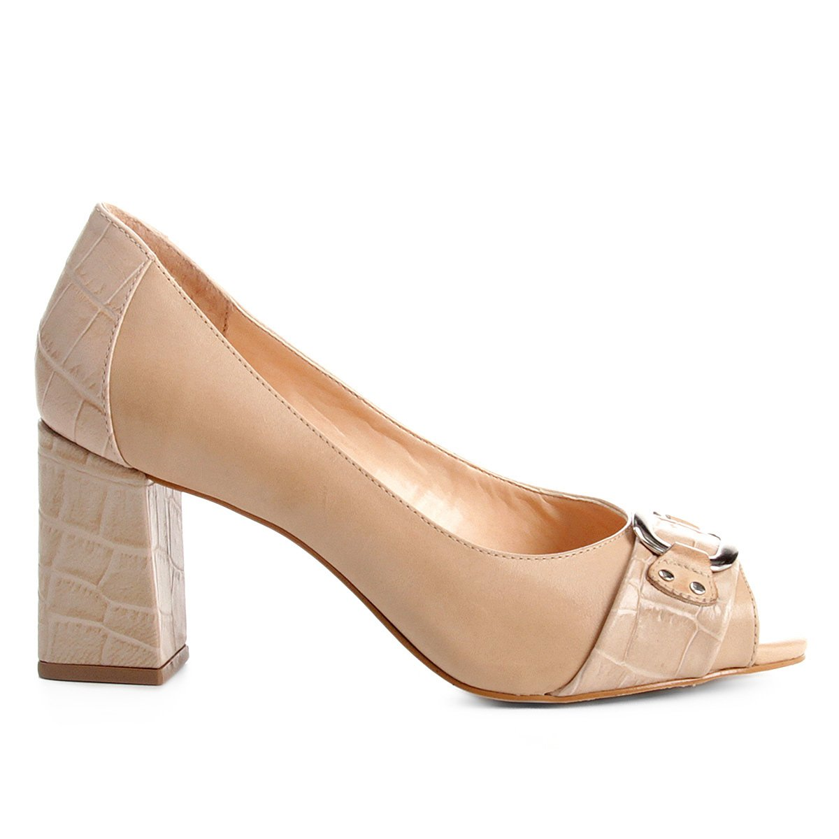 Nude Toe Croco Mix Shoestock Peep Toe Shoestock Salto Grosso Salto Peep wq6vSZI