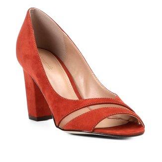 Peep Toe Shoestock Salto Grosso Tela