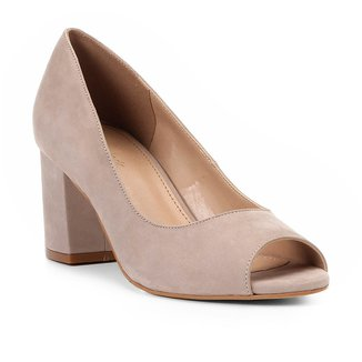 Peep Toe Shoestock Salto Médio Nobuck