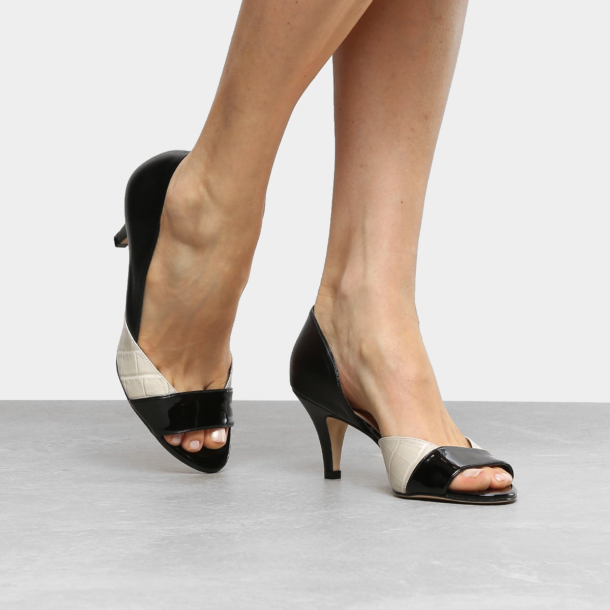 Peep White Médio Salto Shoestock Toe Preto Texturas Off e rAFwTrq