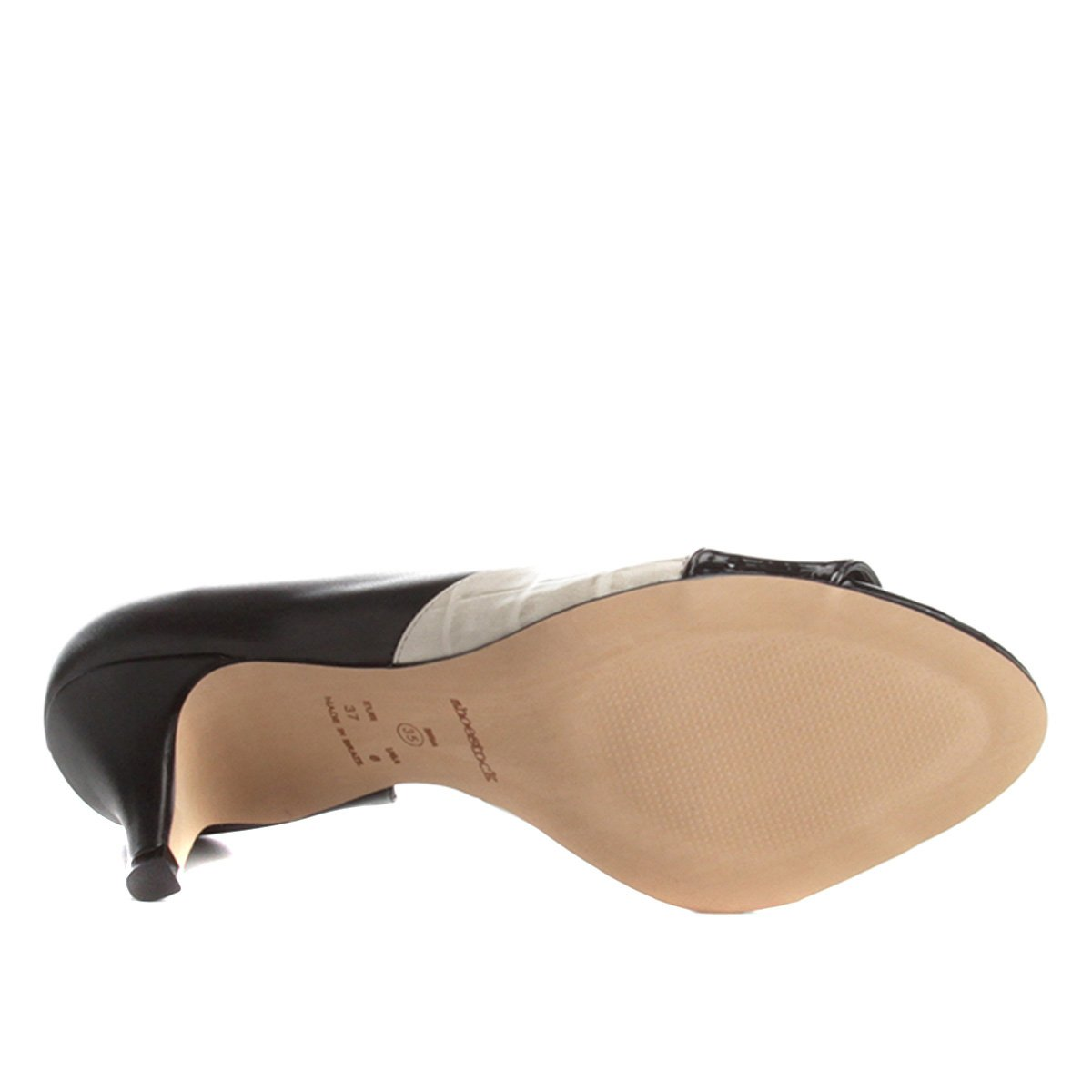 Texturas White Salto Shoestock Peep e Off Médio Toe Preto wxAgn1nq7Z