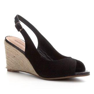 Peep Toe Shoestock Slingback Anabela Nobuck