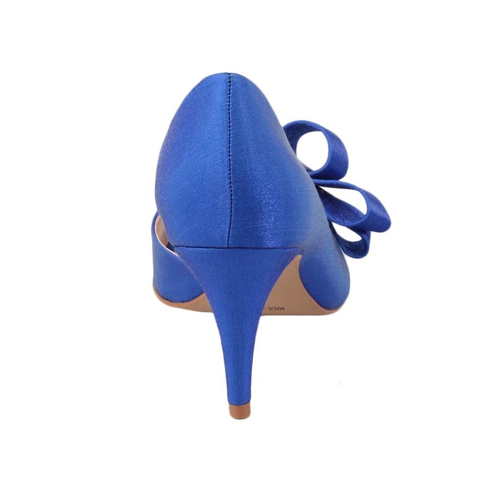 em Azul Toda Laço Toe Detalhe Criativo em Peep Cetim com Spaço 6BE1qWRx