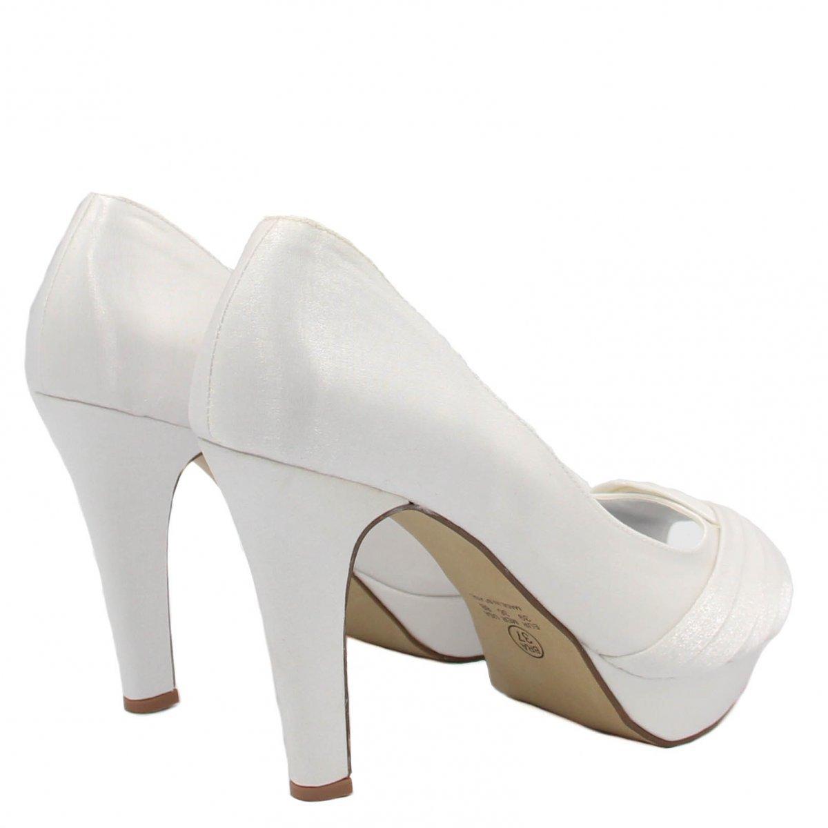 Feminino Salto Zariff Branco Peep Toe Toe Shoes Fino Peep Wwqv0WOBp