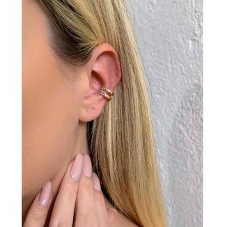 Piercing fake dourado com strass cristal dalila