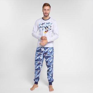 Pijama Adulto Evanilda Disney Mickey Pai e Filho Longo Masculino