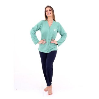 Pijama Algodão Mechler Aberto Longo Feminino