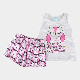 Pijama Bebê Kyly Corujinha Brilha no Escuro Feminino