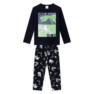 Pijama Bebê Kyly Dino Manga Longa Dino Brilha no Escuro Masculino