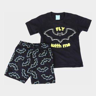 Pijama Bebê Kyly Morceguinhos Brilha no Escuro Masculino