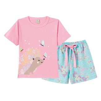 Pijama Bebê Pingo Lelê Short Doll Flores Estrelas Feminino