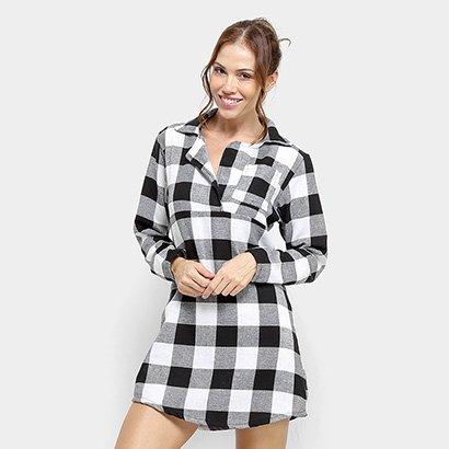 Pijama Camisão Flora Zuu Xadrez Máscara Brinde-Feminino