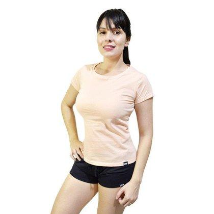 Pijama Conjunto Camiseta Salmao E Short Feminino