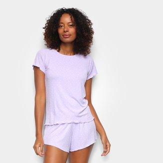 Pijama Cor Com Amor Shorts Doll Manga Curta Coração Feminino