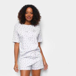 Pijama Cor Com Amor Shorts Doll Manga Curta Floral