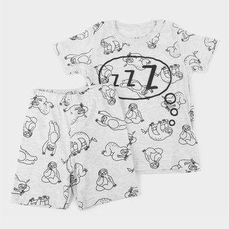 Pijama Curto Bebê Brandili Bichinho Preguiça Masculino
