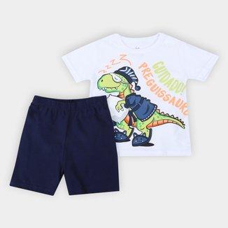 Pijama Curto Bebê Brandili Dino Masculino