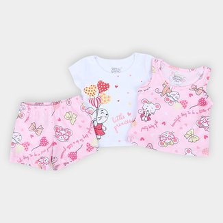 Pijama Curto Bebê Elian Litte Princess 3 Peças Feminino