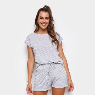 Pijama Curto Cor com Amor Short Doll Listrado Feminino
