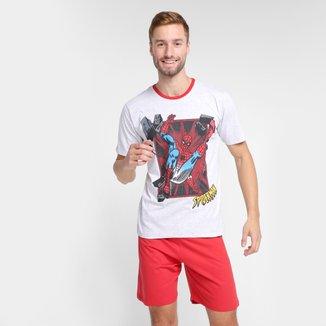 Pijama Curto Evanilda Spider Man Masculino