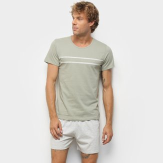 Pijama Curto Hering Mescla Listras Masculino