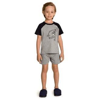 Pijama Curto Infantil Booth Familia Skeleton Brilha  Escuro