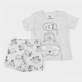 Pijama Curto Infantil Brandili Bichinho Preguiça Masculino