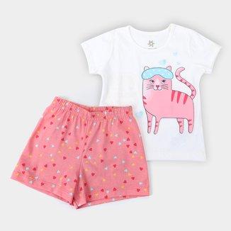 Pijama Curto Infantil Brandili Brilha no Escuro Feminino