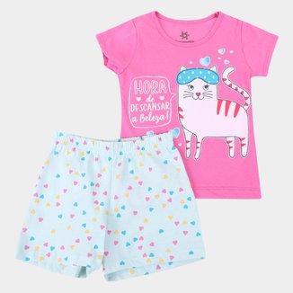 Pijama Curto Infantil Brandili Brilha no Escuro Hellô Feminino