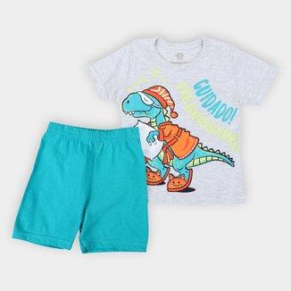 Pijama Curto Infantil Brandili Dino Masculino