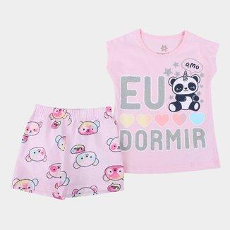 Pijama Curto Infantil Brandili Eu Amo Dormir Feminino