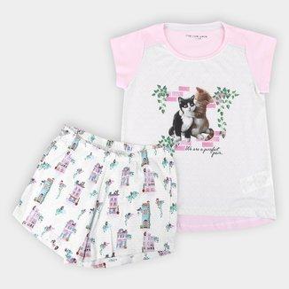 Pijama Curto Infantil Cor com Amor Short Doll Gatinho Feminino