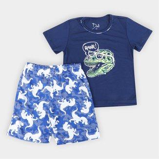 Pijama Curto Infantil Dali Dino Masculino