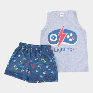 Pijama Curto Infantil Duzizo Brilha no Escuro Games Masculino
