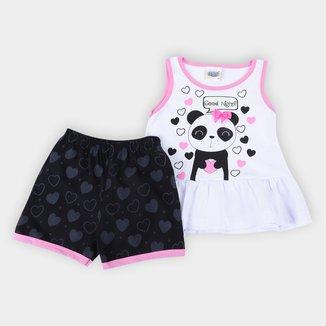 Pijama Curto Infantil Duzizo Brilha no Escuro Good Nitht Feminino