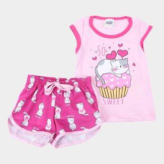 Pijama Curto Infantil Duzizo Brilha no Escuro Sweet Feminino