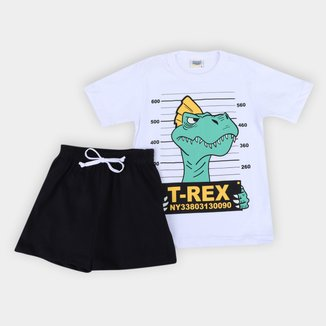 Pijama Curto Infantil Duzizo T-Rex Brilha no Escuro Masculino