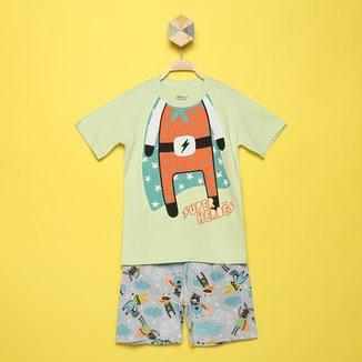 Pijama Curto Infantil Elian Camiseta Heróis Brilha No Escuro Masculino