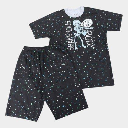 Pijama Curto Infantil Elian Caveira Brilha no Escuro Masculino