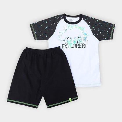Pijama Curto Infantil Elian Explorer Brilha no Escuro Masculino