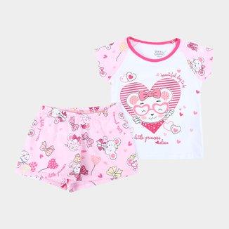 Pijama Curto Infantil Elian Little Princess Feminino
