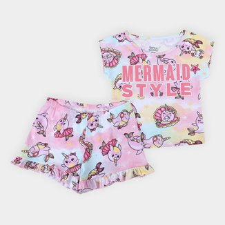 Pijama Curto Infantil Elian Mermaid Print Feminino