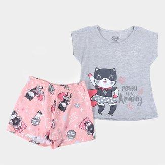 Pijama Curto Infantil Elian Perfect To Be Amazing Feminino