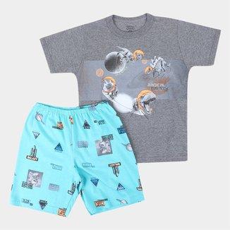Pijama Curto Infantil Elian Radical Galaxy Masculino