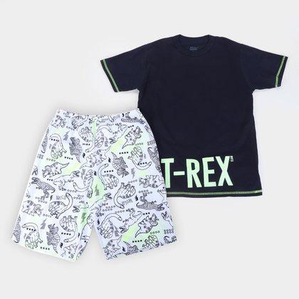 Pijama Curto Infantil Elian T. Rex Brilha no Escuro Masculino