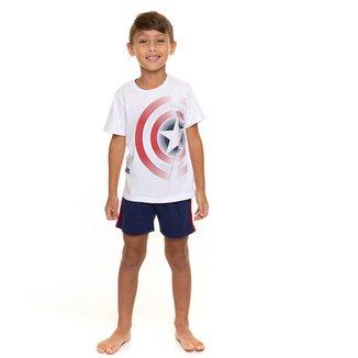 Pijama Curto Infantil Evanilda Avengers Marvel Masculino