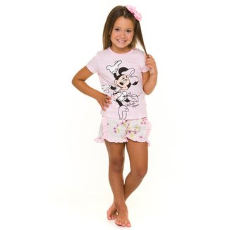 Pijama Curto Infantil Evanilda Disney Minnie Feminino